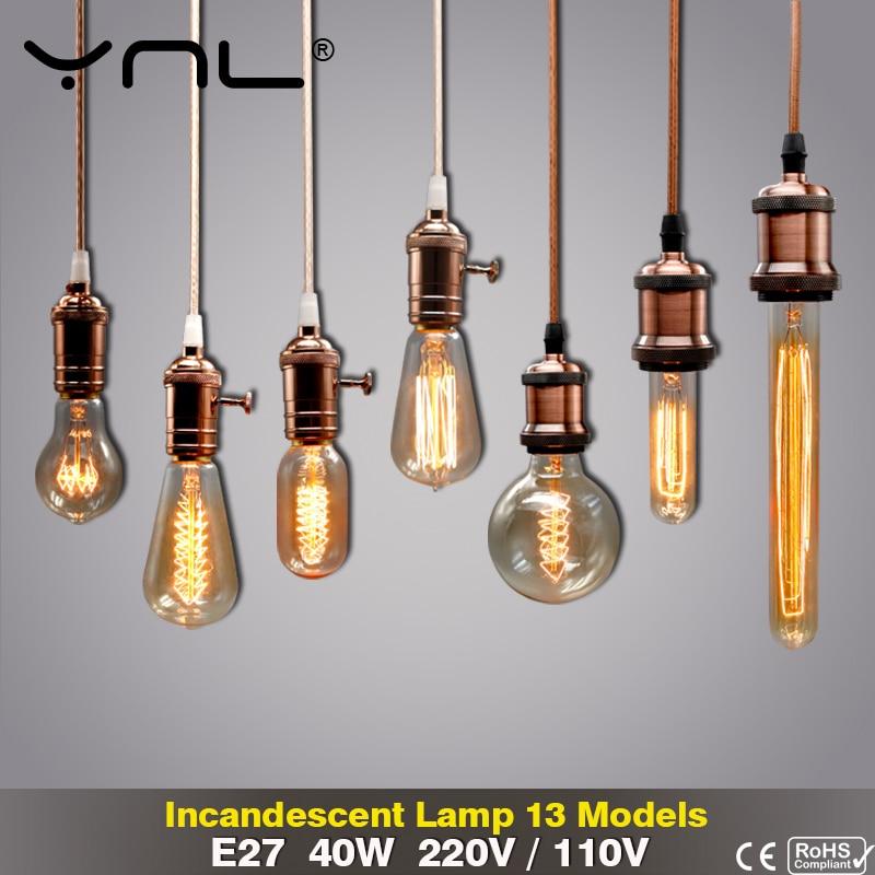 Retro Edison Light Bulb E27 220V 110V 40W ST64 G80 G95 T10 T45 T185 A19 G125 Filament Incandescent Ampoule Bulbs Vintage Lamp
