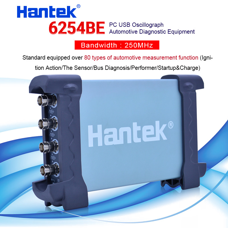 Hantek 6254BE Digital oscilloscope Automotive Car-detector 250MHz 4 Channels 1Gsa/s USB PC Oscillograph image