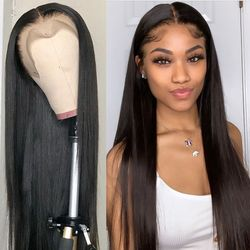 28 30 inch Straight 13x4 Lace Front Wig for Women Remy Brazilian Human Hair Wig Pre Plucked With Baby Hair Lace Frontal Wig Full