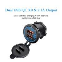 Enchufe USB para encendedor de cigarrillos de coche, accesorios electrónicos de carga QC3.0 Teléfono de carga rápida Ipad, 12V-24V