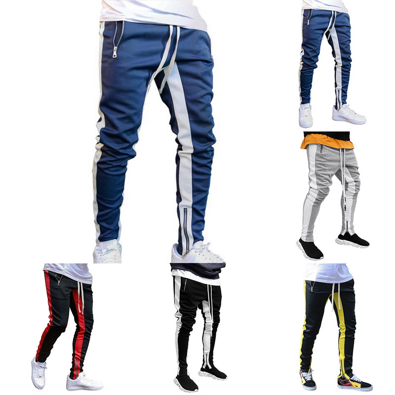 Tracksuit Bottoms Skinny Sweatpants Trousers Black Gyms Jogger Track Pants Mens Joggers Zipper Casual Pants Fitness Sportswear