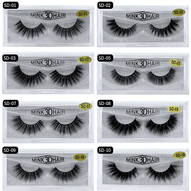Mangodot 1Pair Eyelash 3D Mink Eyelashes Thick Fake Lashes Luxury HandMade Volume Lashes Extension Reusable False Eyelashes SD18
