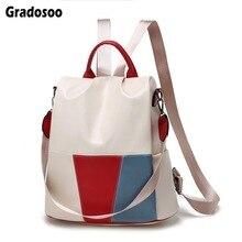 Gradosoo Panelled Women Backpack Luxury Shoulder Bag Female Anti-theft Schoolbag New Brand Travel LBF619