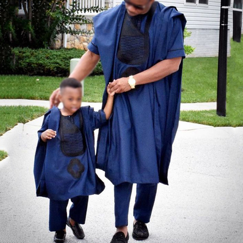 Parent-Child Clothes Sets Traditional Embroidery Dashiki African Riche Daddy and Me Outfits,Kids Deep Blue-3XL