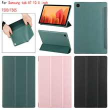 For Samsung Galaxy Tab A7 10.4 case SM-T500 SM-T505/T507 Leather Smart Sleep wake funda Trifold Stand Solid cover