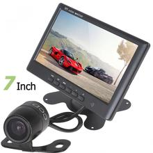цена на HD 800 x 480 Super Thin 7 Inch Color TFT LCD 2 Channels Video   Input Car Rear View Monitor+E306 18mm Color CMOS / CCD Camera