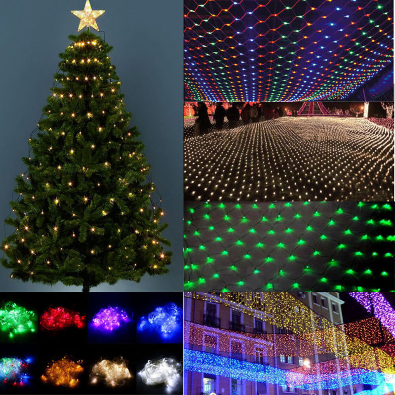1.5x1.5/3X2 Christmas Lights Net Garland On The Window LED Mesh Grid Lights For Street Garland Christmas Decorations For Home