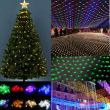 1.5x1.5/3X2 Christmas Lights Net Garland on the window LED Mesh Grid Lights For Street Garland Christmas Decorations For Home(China)
