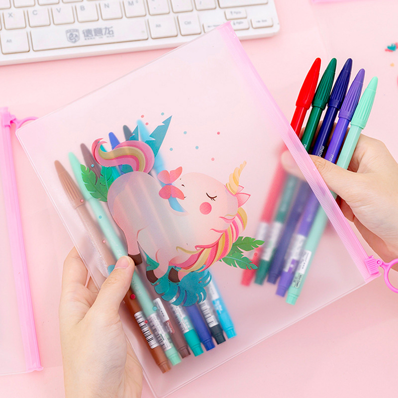 Cute Unicorn Pencil Case Transparent Rainbow Balloon Plants File Bag Document Bag For Kids Girls School Office Novelty Supplies