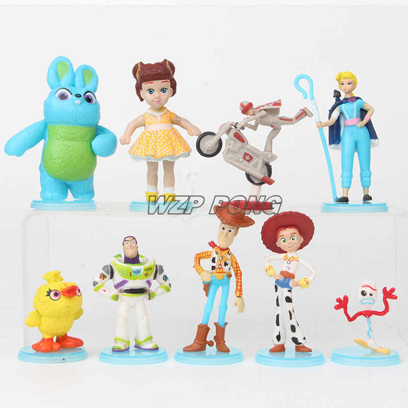 Toy Story Buzz Lightyear Woody Jessie 4 Estatueta Bonecas Brinquedos PVC Action Figure Collectible Modelo Toy Set Caçoa o Presente