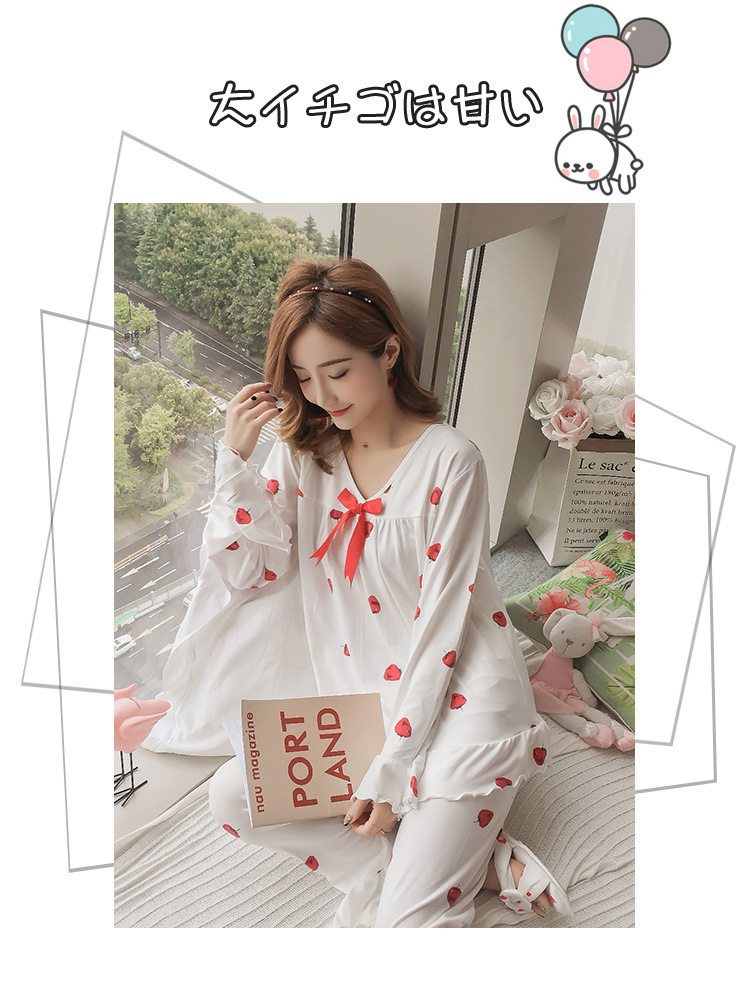 Autumn Women Cotton Pajamas Sets 2 Pcs Cartoon Printing Pijama Pyjamas Long Sleeve Bowknot Pyjama Sleepwear Sleep Set 53