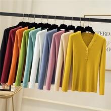 Jinkazi осень/зима 2020 толстый свитер женский вязаный с v образным