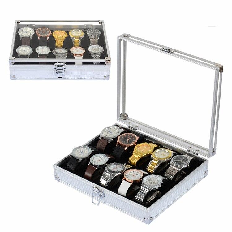10 Grid ալյումինե շքեղ ապրանքանիշի ժամացույցի ցուցադրման տուփ Ժամացույցներ Ոսկերչական իրերի պահեստավորման կազմակերպիչ