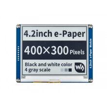Waveshare 4.2 e papel, 400x300,4.2 polegada E Tinta módulo de visualização, visor a cores: preto, branco. Sem iluminação, grande angular, SPI interace,