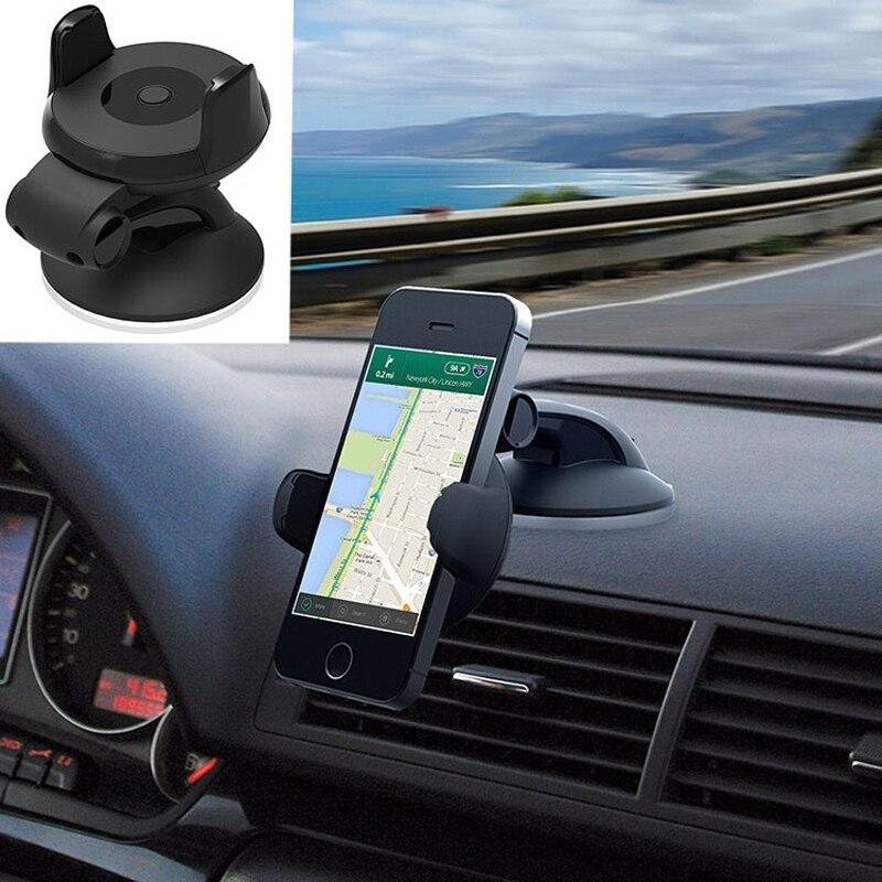 360 Degrees Rotation Adjustable Phone Holder Adjustable Width Universal Mobile Phone Holder Black Car Stand Holder