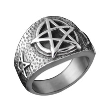 Gothic Man Ring Biker Stainless Steel Jewelry Accesories Quality Silver Fashion Lucky Pentagram Knuckle Punk Vintage Male Ring цена в Москве и Питере