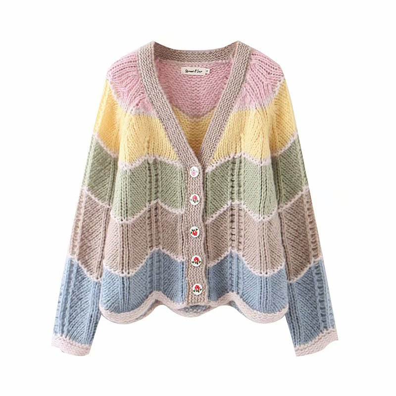 2019 Autumn Warm Women Sweaters Cardigans Rainbow Color Matching Casual Cardigan Rose Button Basic Knitted Cardigan Women Top
