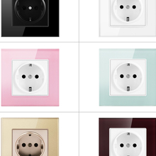 Power-Socket Glass-Panel Electrical-Outlet Crystal SRAN White Standard 16A EU 86mm--86mm