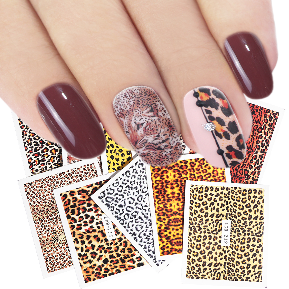 1pcs Leopard Nail Art Sticker Charm Sexy Wraps Animal Water Transfer Decal Slider DIY Manicure Decoration Accessory LASTZ845-855