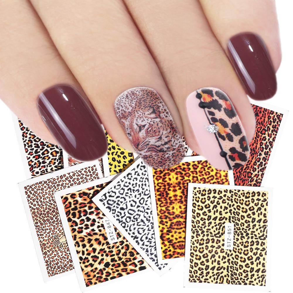 1pcs Leopard Nail Art Sticker Charm Sexy Wraps Animal Water Transfer Decal Slider DIY Manicure Decoration Accessory LASTZ845-855