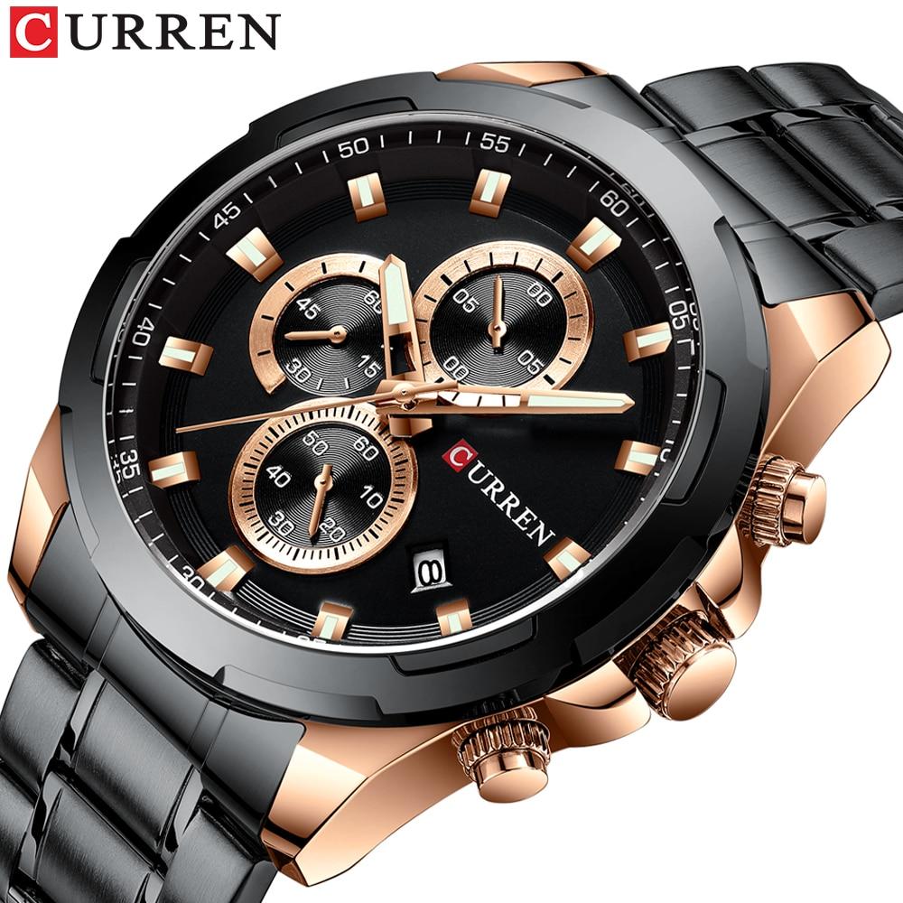 Часы наручные CURREN Мужские с хронографом, брендовые модные спортивные Роскошные водонепроницаемые из нержавеющей стали