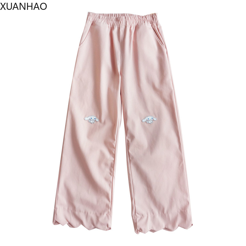 XUANHAO Japanese Lolita Style Women Capris High Waist Pink Black Apricot Cotton Pants Cute Kawaii Sweet Anime Wide Leg Trousers