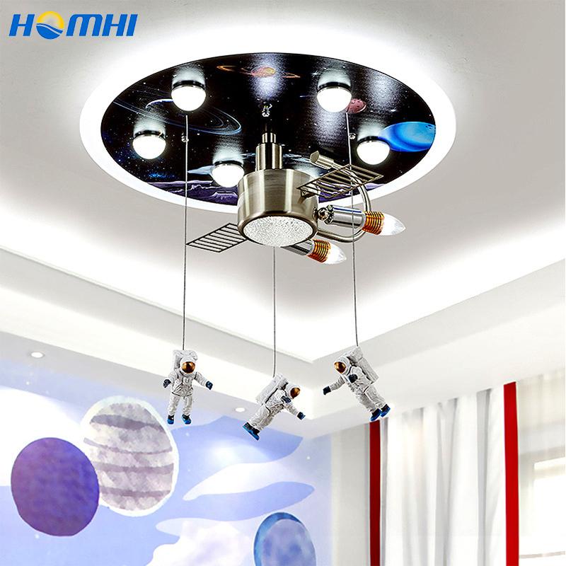 Astronaut Chandeliers Universe Lights for Room Lustre Chambre Baby Room Decor Bedroom Favourite Kids Cute Luces Para Habitacion
