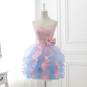 Image 3 - Babados coloridos mini vestidos de formatura puffy beading arco bonito cristal querida formal baile baile festa organza sd131