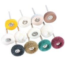 "1"" Wool Felt Grinding sanding Head Abrasive Buffing Wheel 2.35/3mm shank Cotton Thread Polishing mini Brush for Dremel Dril"