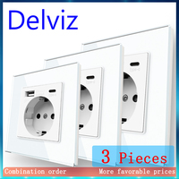 Delviz-puerto de carga tipo C de pared, toma de corriente estándar de la UE con puertos USB, CA de 110V-250V, enchufe USB de vidrio templado blanco