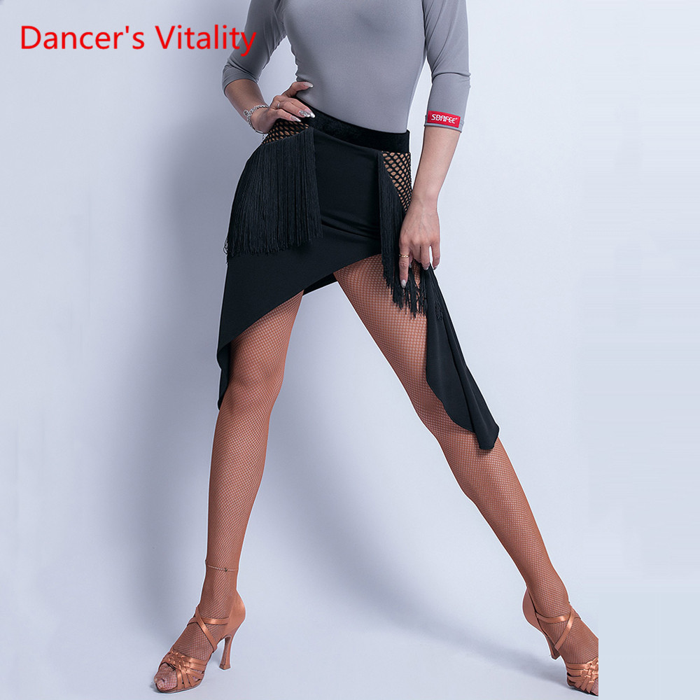 Latin Dance Female Adult Sexy Skirt Rumba Cha Cha Profession Performance Dance Clothing Tassel Slit Exercise Clothes