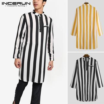 2020 Men Stripe Robes Long Sleeve Stand Collar Long Shirts Man Casual Pockets Kurta Fashion Muslin Kaftan Robe Indian Clothing