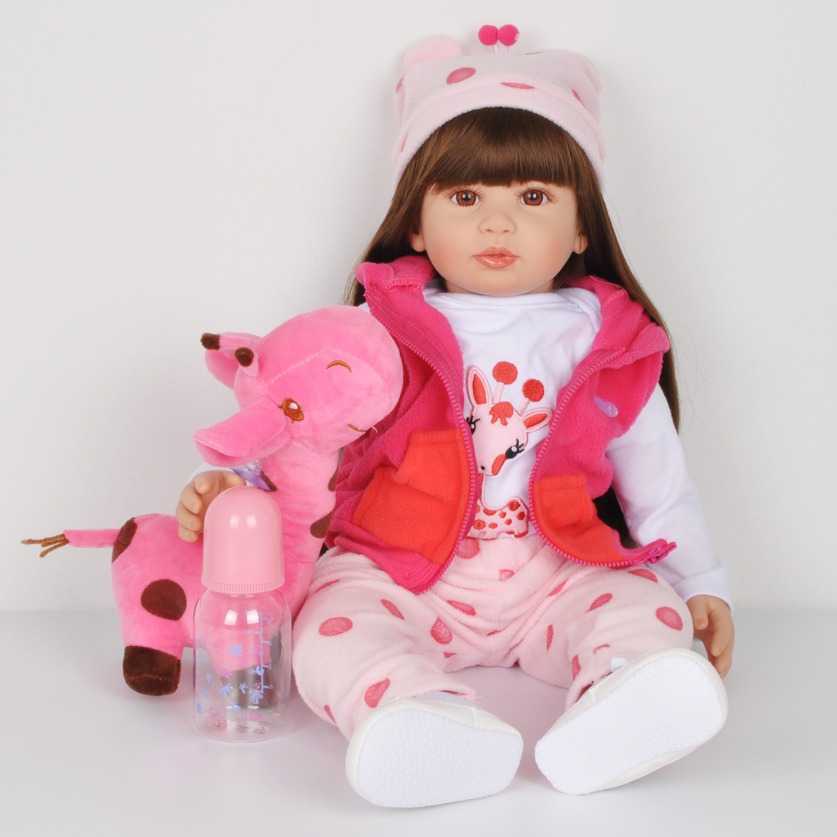 24inch 60cm Reborn Baby Doll Silicone Bebe Bonecas Lifelike Realistic Alive Baby Menino Christmas Gift Toys Long Hair Giraffe