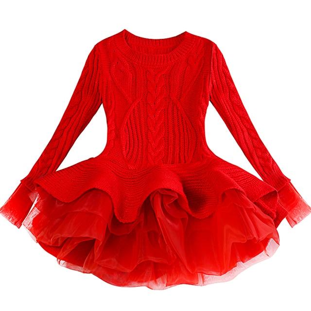 Red Tutu Girls Dress Long sleeve Knit Girls dresses Winter 2019 Autumn Tulle Casual Kids Dresses for girls Christmas Dress Party 1
