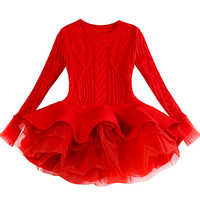 Red Tutu Girls Dress Long sleeve Knit Girls dresses Winter 2019 Autumn Tulle Casual Kids Dresses for girls Christmas Dress Party