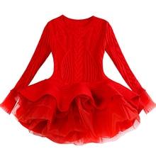 10€ Rojo vestido para niñas con tutú de manga larga de punto vestidos de niñas de invierno de Otoño de 2019 de Casual vestidos infantiles para niñas de Navidad vestido de fiesta