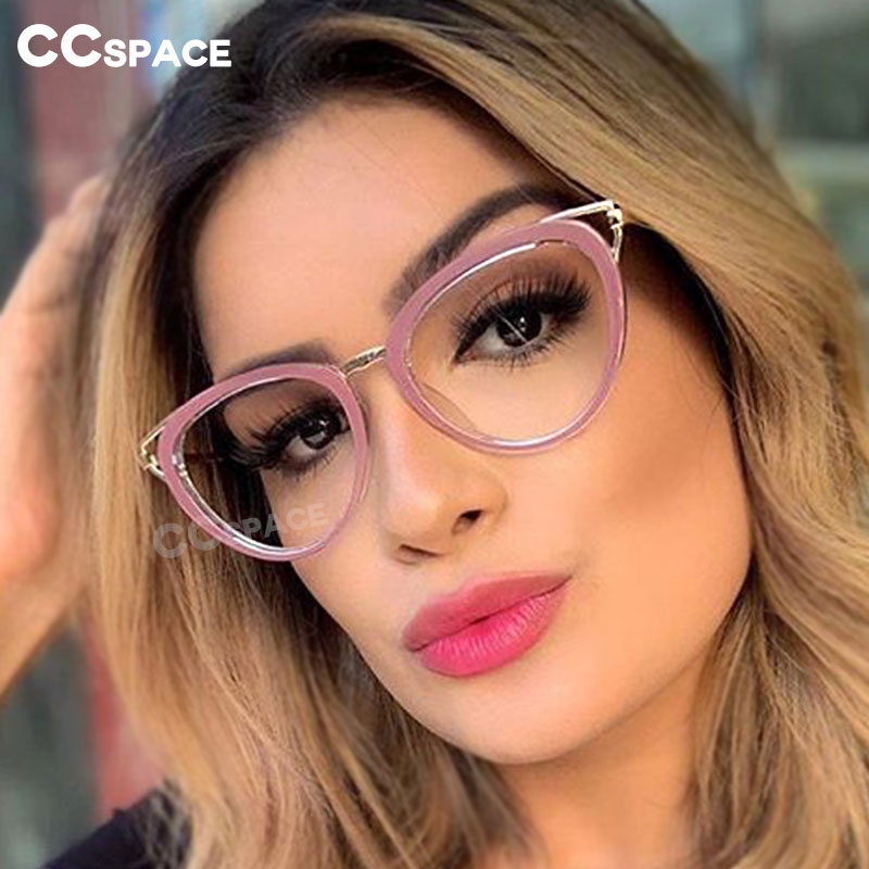 45661 Metal Hollow Glasses Frames Cat Eye Women Optical Computer Glasses