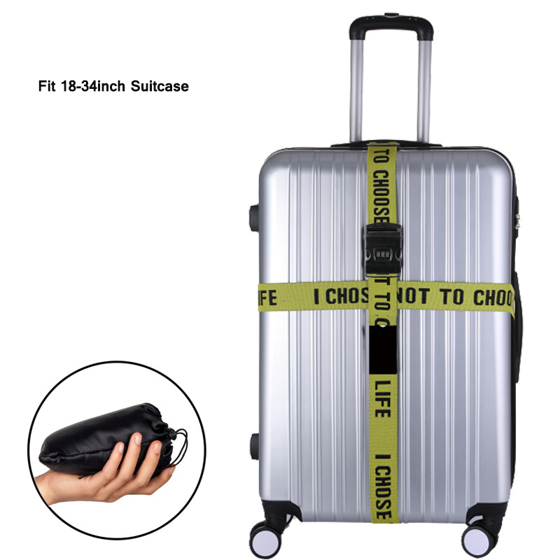 Letter Luggage Strap Cross Belt Packing  Suitcase Belts Adjustable Elastic Rope  Travel Suitcase Band With 3 Digits TSA Password