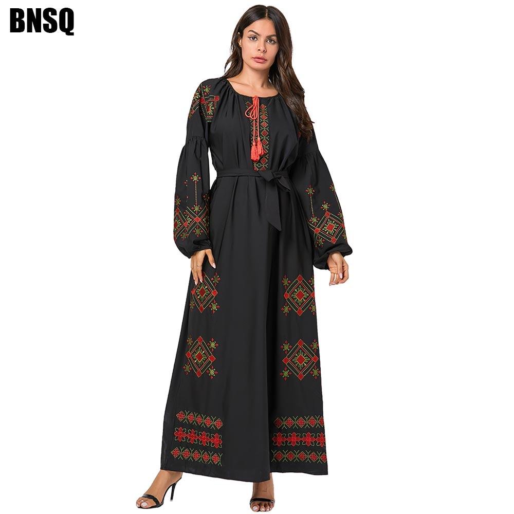 BNSQ Large Size Women Floral Embroidery Dress Lantern Long Sleeved Lace Maxi Pray Abaya Pakistani Kaftan Ramadan Clothes Turkey