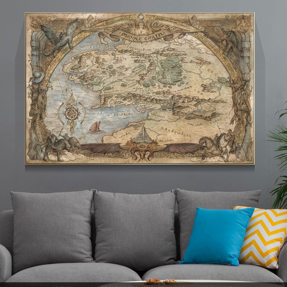 Westeros And Essos Treasure World Map Art Canvas Painting on The Wall Art Posters and Prints for Living Room Home Decoration