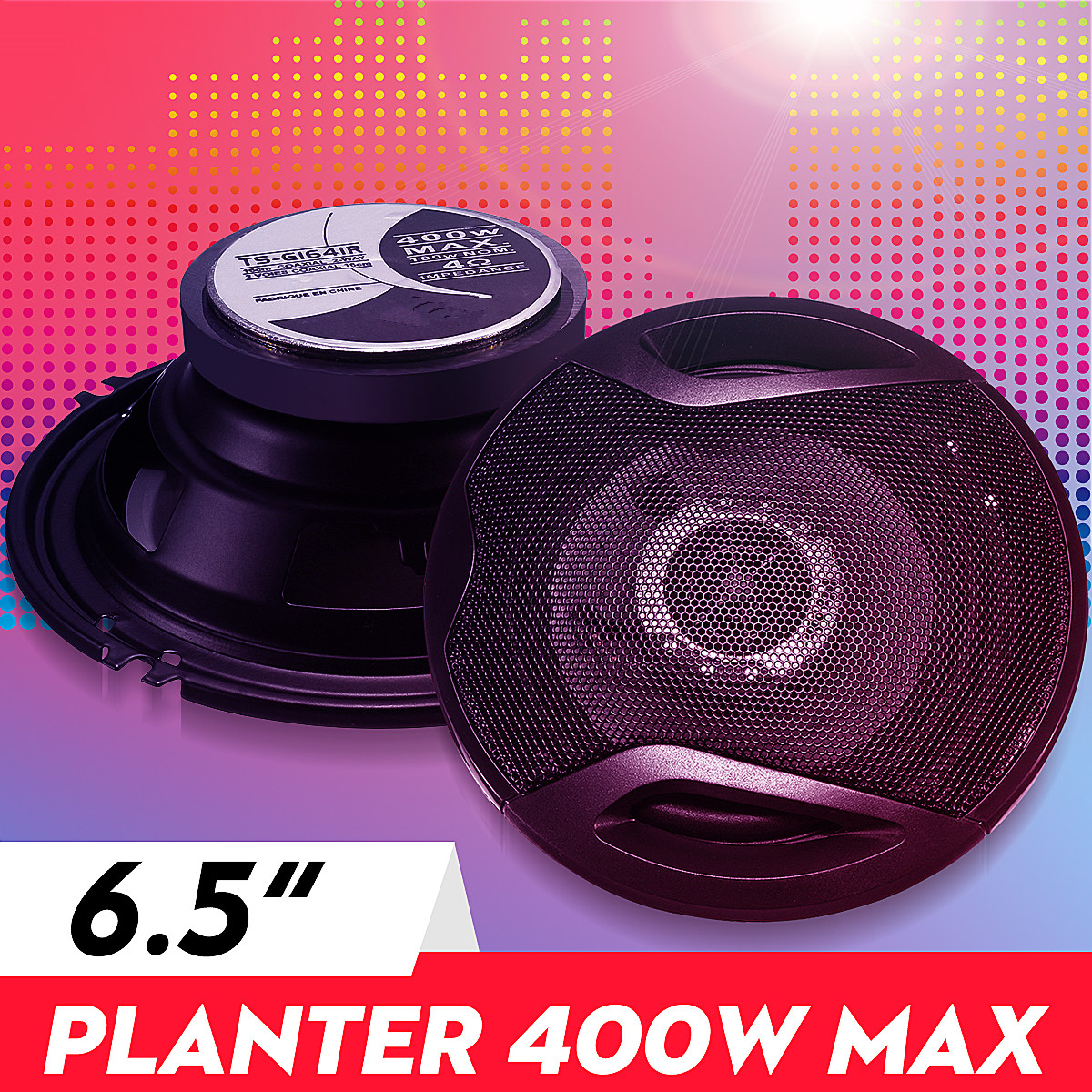 400W 6.5 Inch Car Audio Speaker 4-Way Coaxial Universals Stereo External Magnetic High-fidelity Car Audio Music Subwoofer Pair