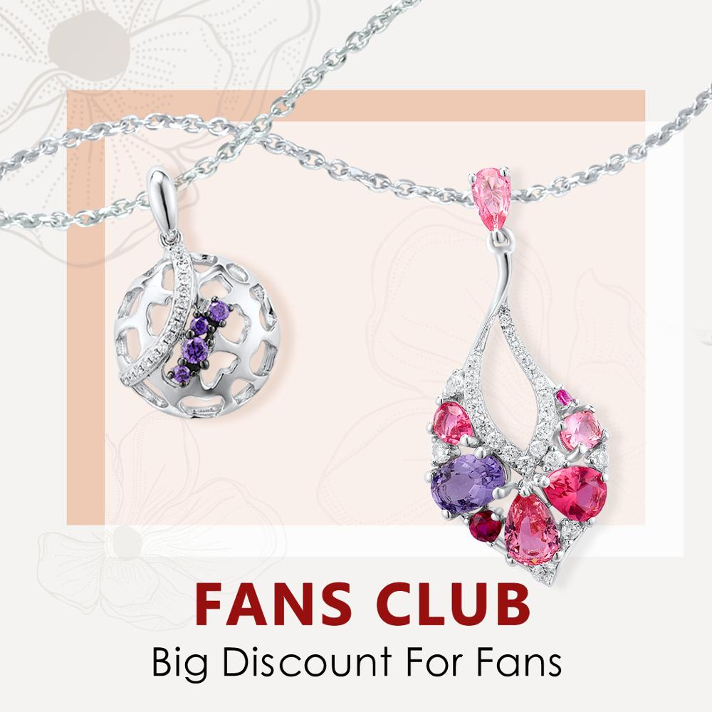 SANTUZZA Silver Pendants For Women Pure 925 Sterling Silver Colorful Stones Elegant Trendy Party Pendant Fine Jewelry