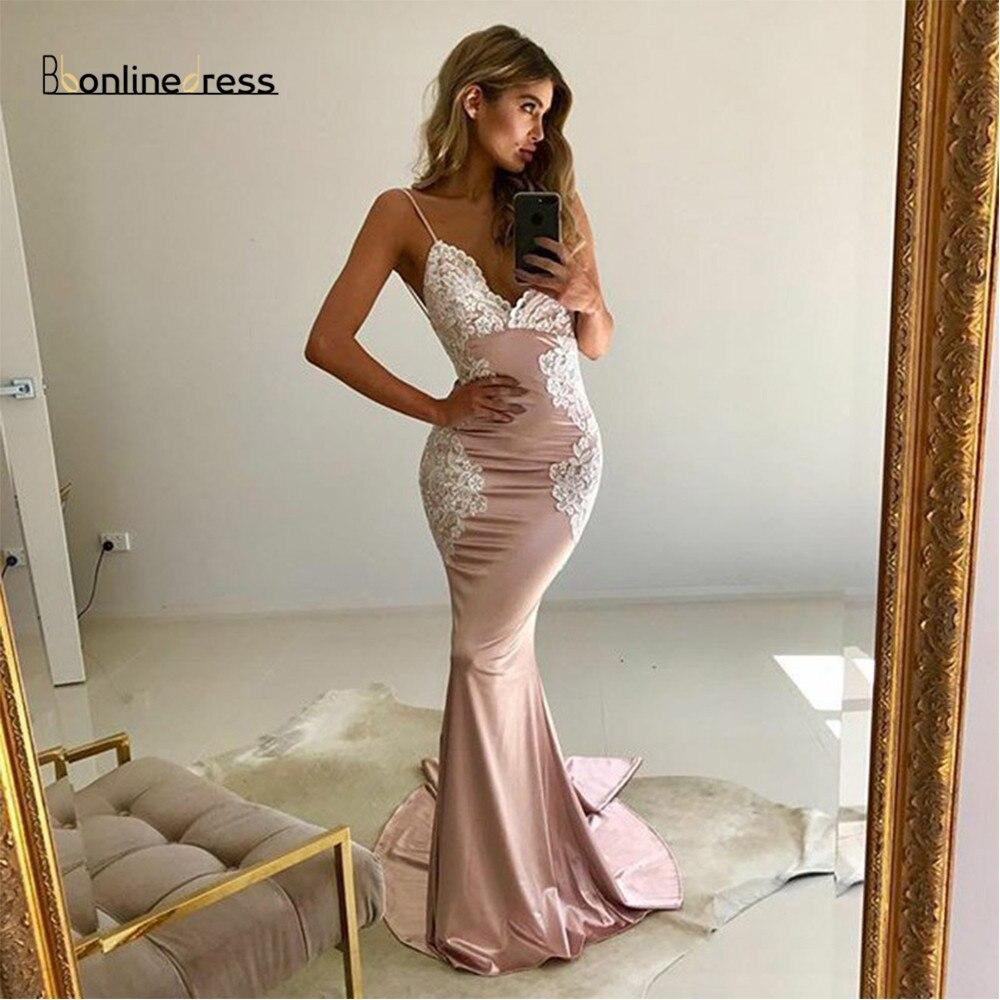Elegant Mermaid Evening Dress Spaghetti Straps Backless Evening Dresses  2020 Appliques Robe De Soiree  New Arrival Evening Dres