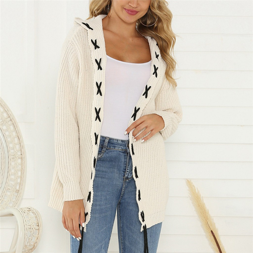Knitted Sweater Loose Cover Up Cardigan Women Casual Long Sleeve Strappy Autumn Winter Clothes Keep Warm Cardigan Feminino