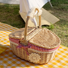 Wicker storage basket hand portable picnic box woven photography Snacks fruit Food rattan