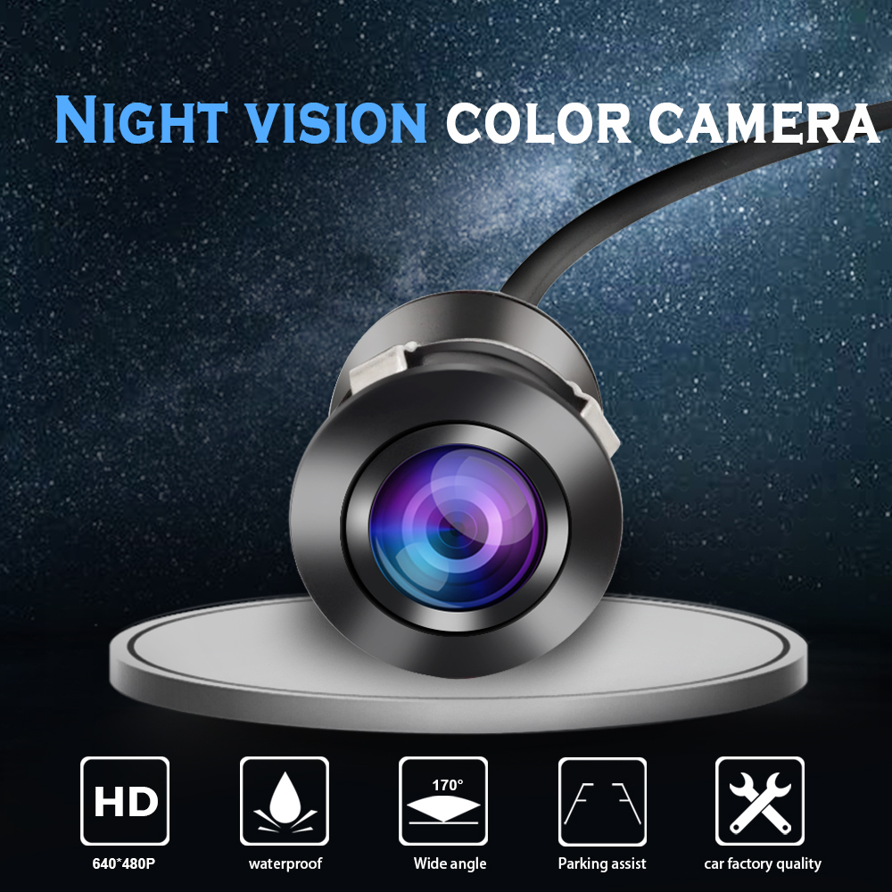 Carsanbo Mini Reverse Backup Camera Car RearView Flush Mount Camera Waterproof Night Vision Camera Wide Viewing Angle with Drill