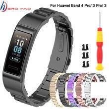 Correa de Metal para Huawei Band 4 Pro 3/ 3 Pro, Correa de acero inoxidable para reloj inteligente