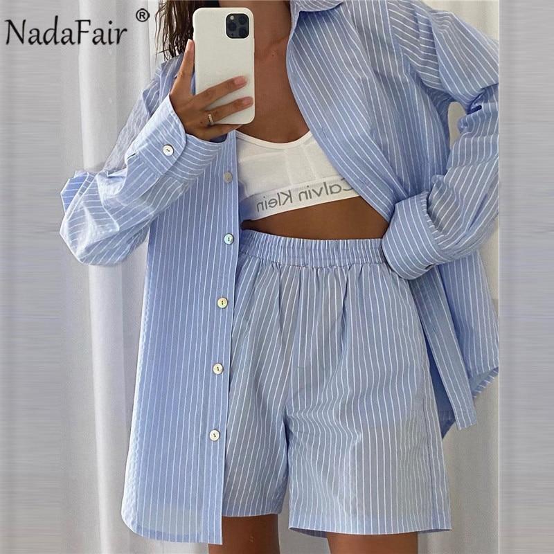 Nadafair Gestreiften Loung Tragen Frauen Shorts Set Langarm Hemd Tops frauen Trainingsanzug 2021 Beiläufige Lose Zwei Stück Set hause Tragen
