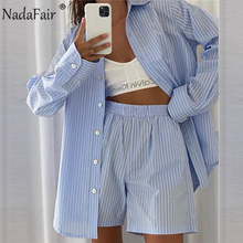 Nadafair Striped Loung Wear Women Shorts Set Long Sleeve Shirt Tops Women's Tracksuit 2021Casual Loose Two Piece Set Home Wear