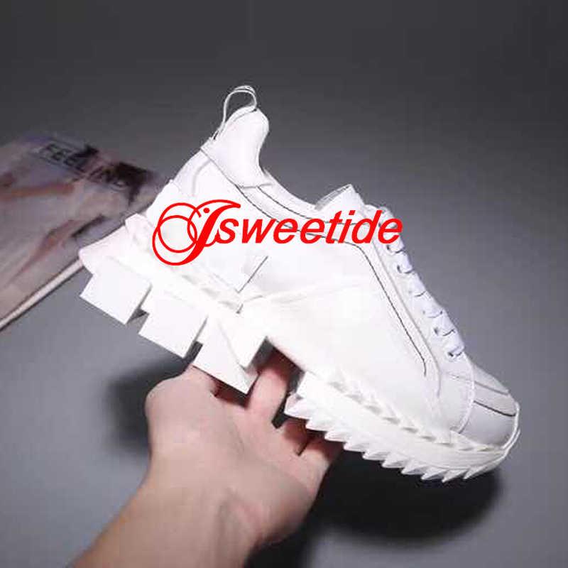 Luxo Designer Low Top Sneakers Mulheres Apartamentos Dedo Do Pé Redondo Antiderrapante fundo Grosso da Mulher Nova Marca de Couro Genuíno Sapatos Casuais